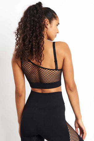 Ivy Park Circ Asymmetric Crop Bra - Black image 2 - The Sports Edit