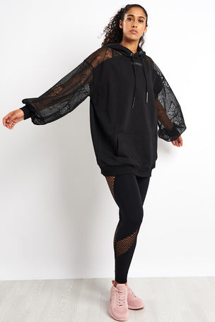 Ivy Park Distressed Mesh Sleeve Hoodie Dress - Black image 4 - The Sports Edit