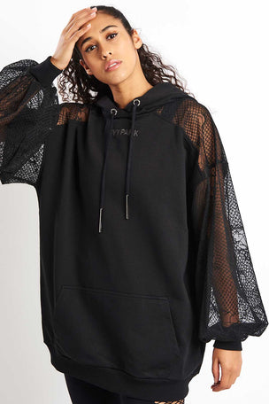 Ivy Park Distressed Mesh Sleeve Hoodie Dress - Black image 1 - The Sports Edit