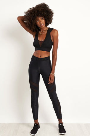 Ivy Park Regal Drape Hooded Bra - Black image 4 - The Sports Edit