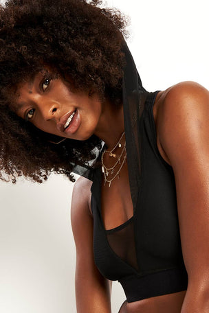 Ivy Park Regal Drape Hooded Bra - Black image 2 - The Sports Edit