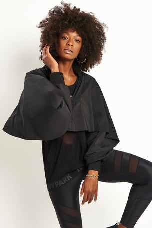 Ivy Park Regal Drape Sleeve Jacket - Black image 1 - The Sports Edit
