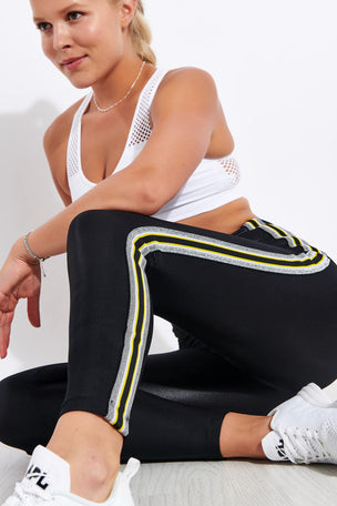 Koral Trainer High Waisted Infinity Legging - Black/Yellow image 3 - The Sports Edit