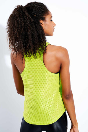 Koral Aerate Shiny Netz Tank - Yellow image 3 - The Sports Edit