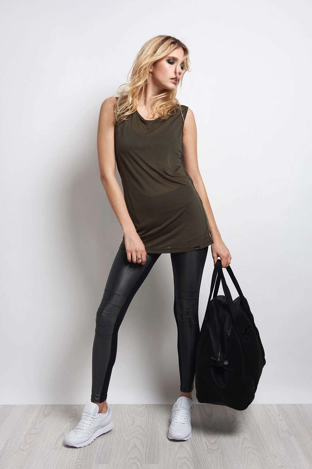 Koral Aura Sleeveless Top - Military Green image 4 - The Sports Edit