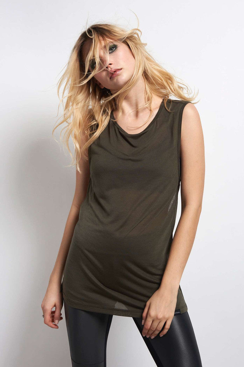 Koral Aura Sleeveless Top - Military Green image 1 - The Sports Edit