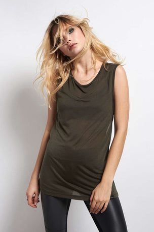 Koral Aura Sleeveless Top - Military Green image 2 - The Sports Edit