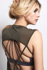 Koral Aura Sleeveless Top - Military Green image 3 - The Sports Edit