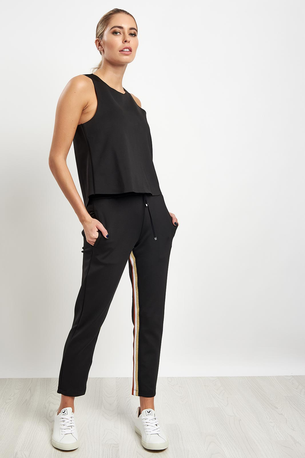 Koral Elizabeth Cropped Pant - Black/Gold image 4 - The Sports Edit