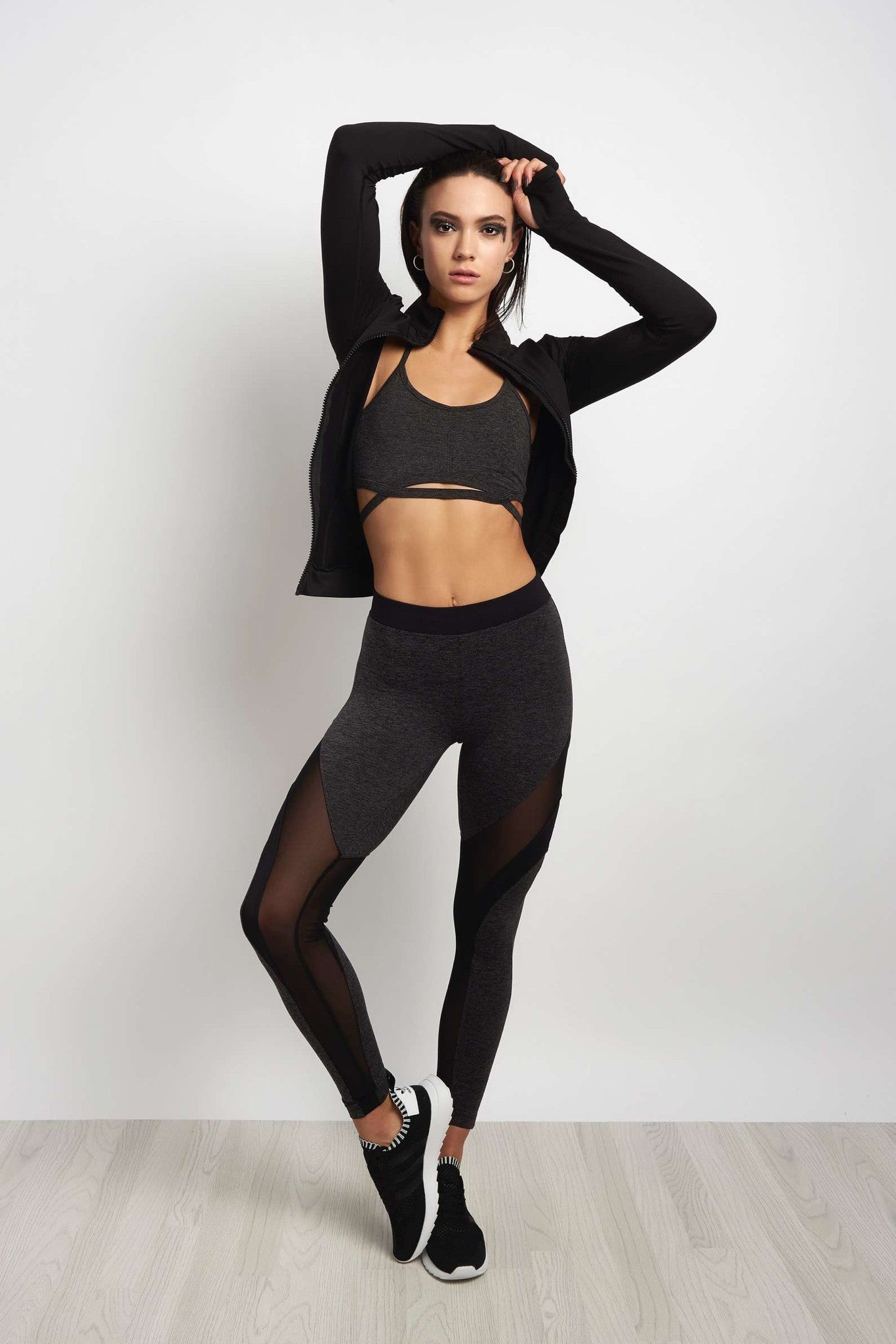 Koral Frame High Rise Legging - Heather / Black image 4 - The Sports Edit