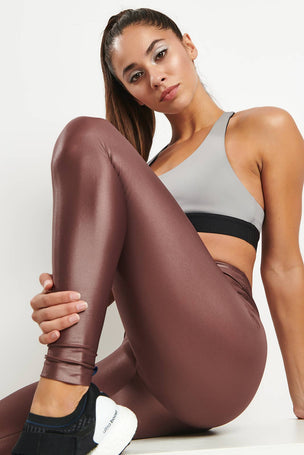 Koral Lustrous High Rise Legging - Marsala image 3 - The Sports Edit