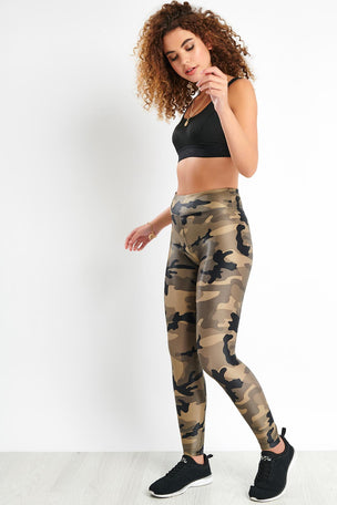 Koral Lustrous High Rise Legging - Green Camouflage image 2 - The Sports Edit