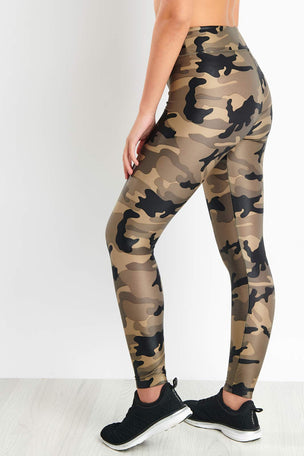 Koral Lustrous High Rise Legging - Green Camouflage image 3 - The Sports Edit