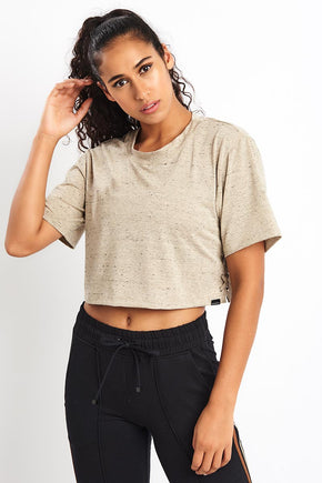 5036caaf1d83c Koral Terra Luxe Crop Top - Gold Heather image 1 - The Sports Edit