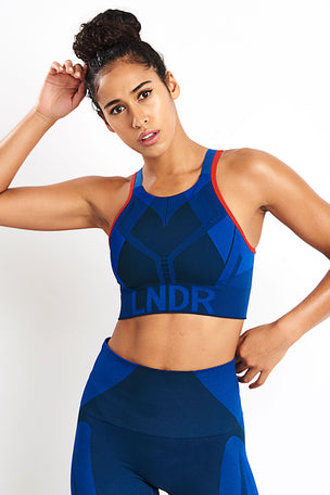 LNDR All Seasons Sports Bra - Blue Petrol image 5 - The Sports Edit