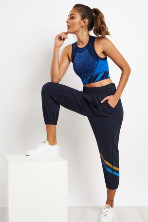 LNDR Cool Down Cropped Trackpants Navy image 5 - The Sports Edit