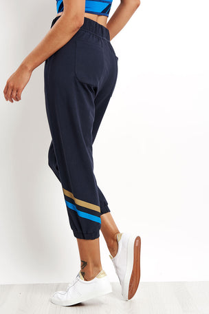 LNDR Cool Down Cropped Trackpants Navy image 2 - The Sports Edit
