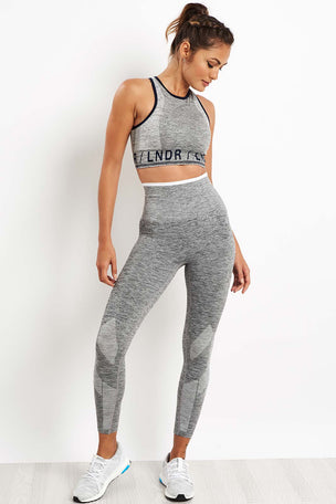 LNDR Six Eight With Stripe Leggings - Grey Marl image 4 - The Sports Edit