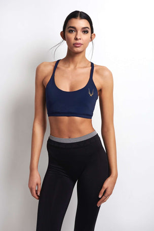 Lucas Hugh Core Performance Cross Back Sports Bra - Midnight image 1 - The Sports Edit