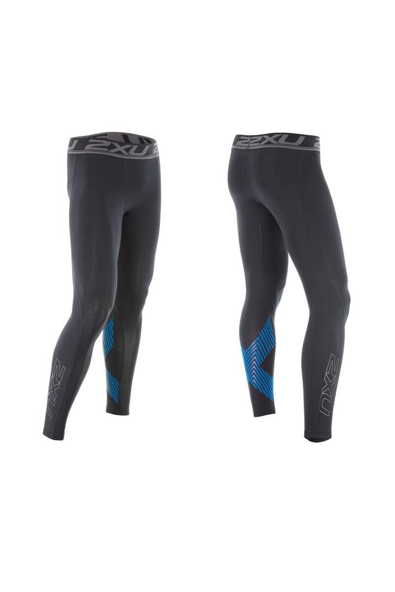 2XU Accelerate Compression Tights Blk/Blue image 5 - The Sports Edit