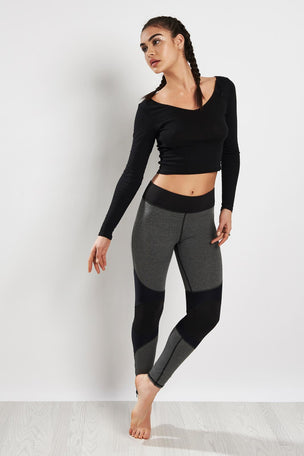 Michi Moto Zip Legging Grey/Black image 4 - The Sports Edit