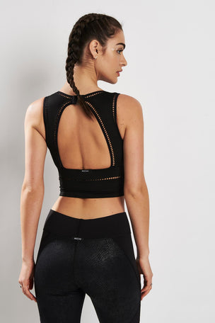 Michi Plunge Crop Top Black image 3 - The Sports Edit