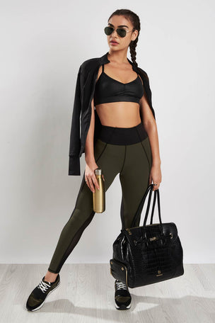 Michi Summit High Waisted Legging Olive/Black image 4 - The Sports Edit