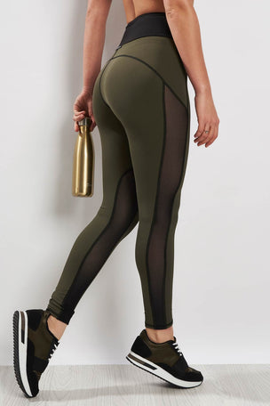 Michi Summit High Waisted Legging Olive/Black image 2 - The Sports Edit