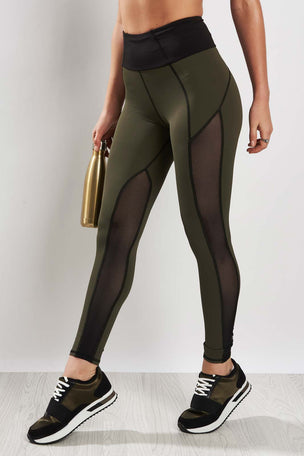 Michi Summit High Waisted Legging Olive/Black image 1 - The Sports Edit