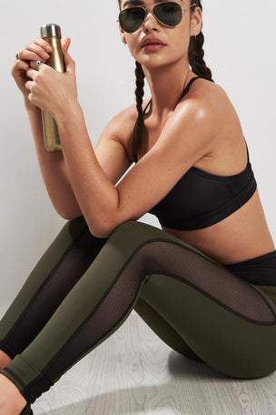Michi Summit High Waisted Legging Olive/Black image 3 - The Sports Edit