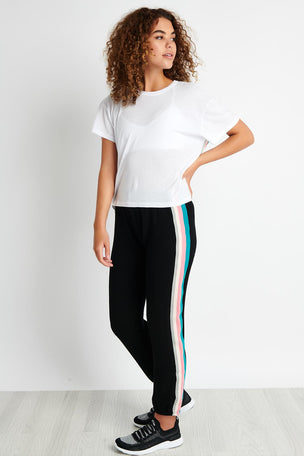Monrow Elastic Waist Sweats With Summer Stripes - Black image 3 - The Sports Edit