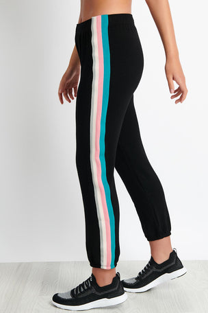 Monrow Elastic Waist Sweats With Summer Stripes - Black image 1 - The Sports Edit