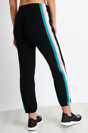 Monrow Elastic Waist Sweats With Summer Stripes - Black image 2 - The Sports Edit