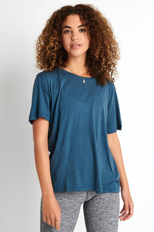 Monrow Oversized Crew - Vintage Blue image 1 - The Sports Edit