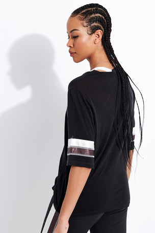 Monrow Oversized Athletic Top - Faded Black image 3 - The Sports Edit