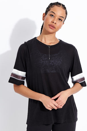 Monrow Oversized Athletic Top - Faded Black image 1 - The Sports Edit
