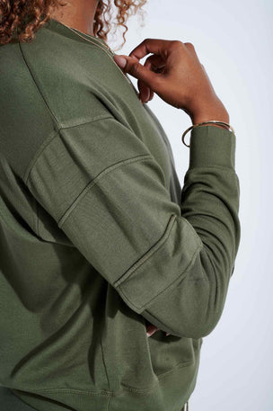 Monrow Patch Pocket Sweatshirt - Green image 4 - The Sports Edit