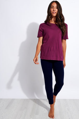 Monrow Super Fine Jersey Oversized Tee - Merlot image 2 - The Sports Edit