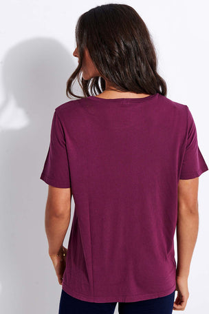 Monrow Super Fine Jersey Oversized Tee - Merlot image 3 - The Sports Edit