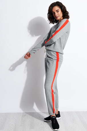 Monrow Vintage Sweats with Contrast Stripes - Heather Grey image 2 - The Sports Edit