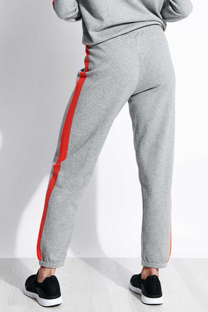 Monrow Vintage Sweats with Contrast Stripes - Heather Grey image 3 - The Sports Edit