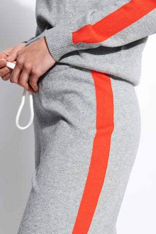 Monrow Vintage Sweats with Contrast Stripes - Heather Grey image 4 - The Sports Edit