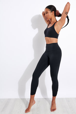 Nike Yoga Ruched 7/8 Leggings - Black/Grey image 2 - The Sports Edit