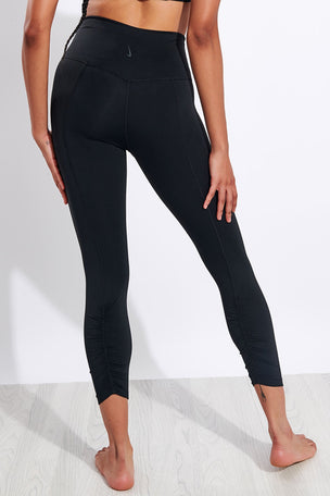 Nike Yoga Ruched 7/8 Leggings - Black/Grey image 3 - The Sports Edit