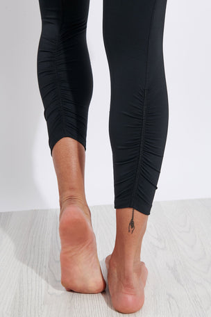 Nike Yoga Ruched 7/8 Leggings - Black/Grey image 4 - The Sports Edit