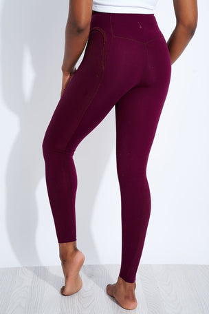 Nike Yoga Statement 7/8 Tights - Night Maroon/ Beetroot image 3 - The Sports Edit