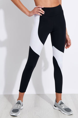 Onzie Assymetrical Block High Waisted Midi Legging - Black/White Iridescent image 1 - The Sports Edit