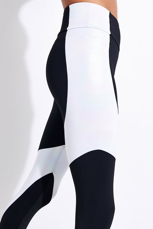 Onzie Assymetrical Block High Waisted Midi Legging - Black/White Iridescent image 4 - The Sports Edit