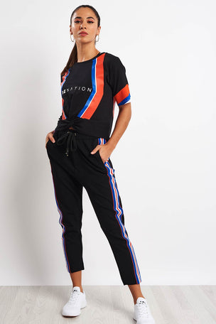 PE Nation Court Run Pant - Black image 4 - The Sports Edit