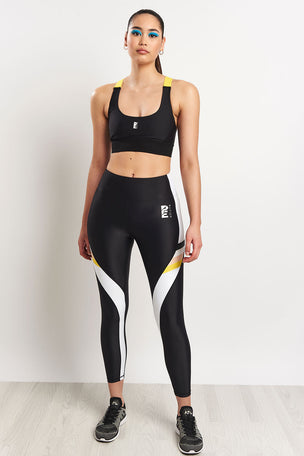 PE Nation Division Round Sports Bra - Black image 2 - The Sports Edit